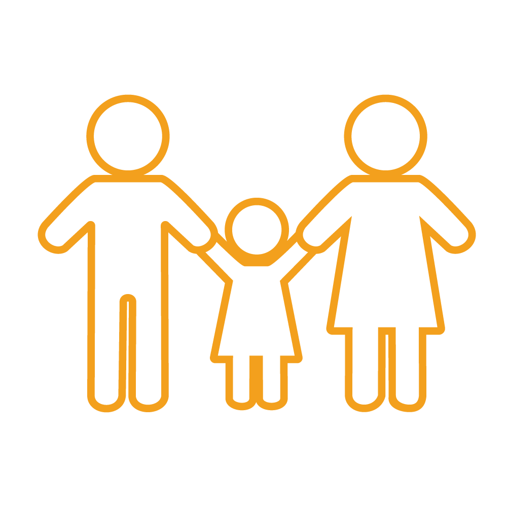 wireframe icon of a small family